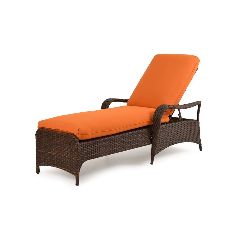 Wicker chaise lounge side view