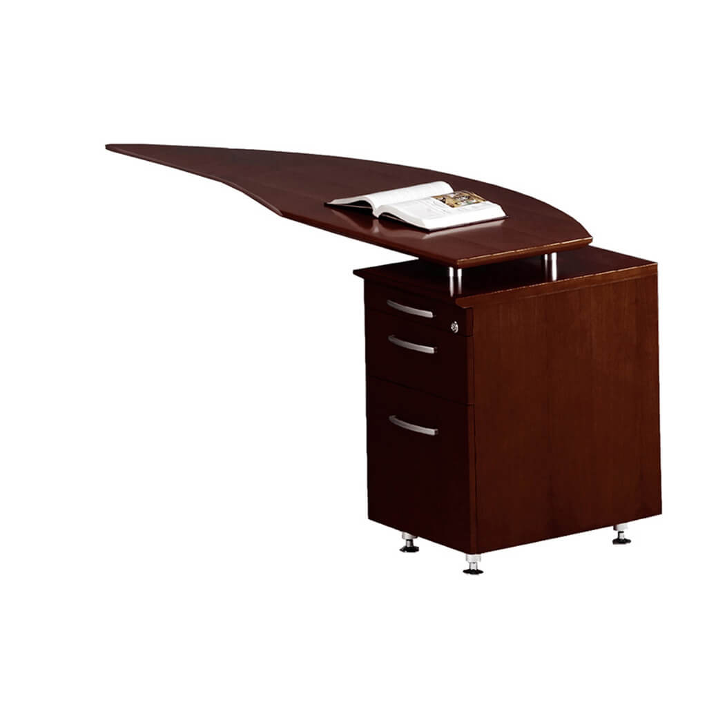 Wood office desk curved desk return left
