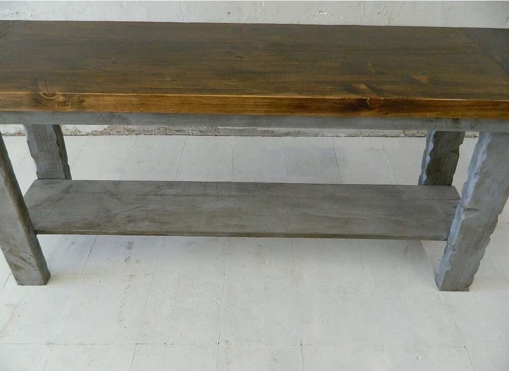 Wood rustic table front view