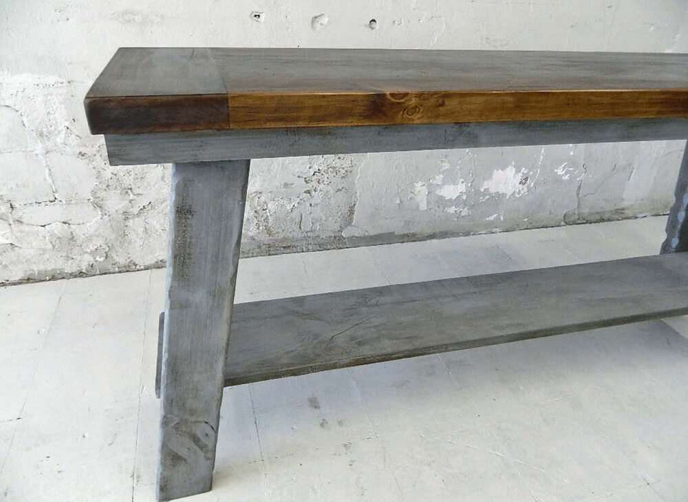 Wood rustic table side view