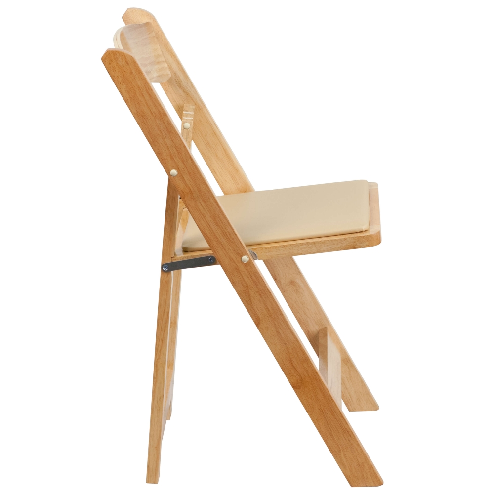 Wooden folding chairs side view