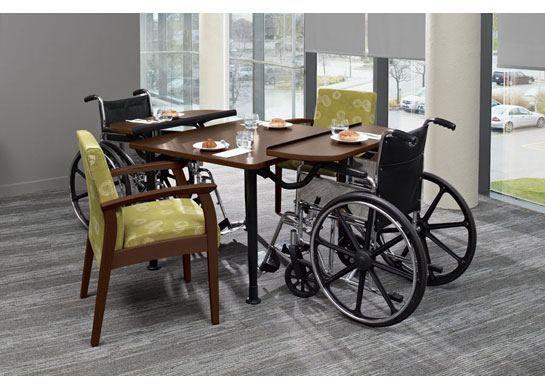 Enable tables fit into dining rooms and activity rooms of nursing homes and other healthcare facilities.