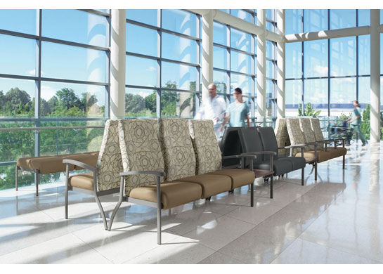Belong hospital chairs have interlocking models for waiting areas and lobbies.