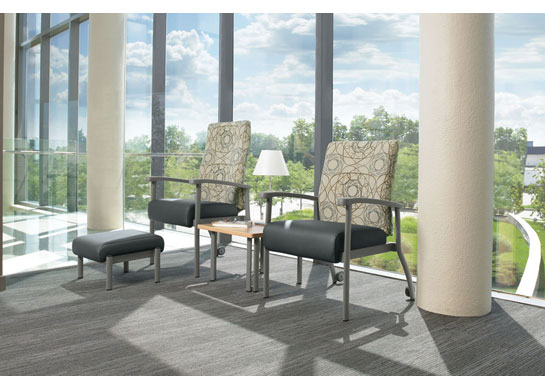 The Belong medical office furniture series also includes ottomans and tables.