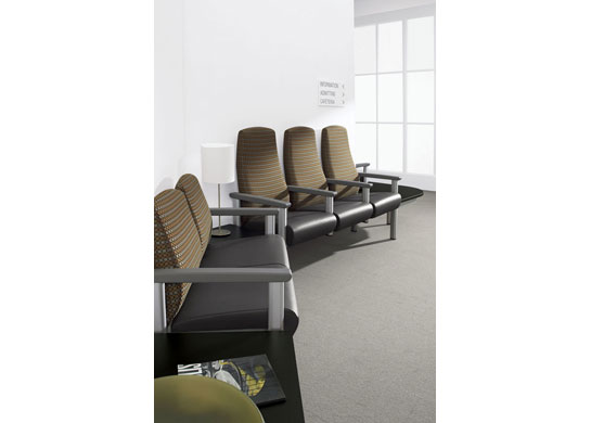 Medical chair units are designed with or without arms and can stand alone or connect to other seating units, tables, or benches.