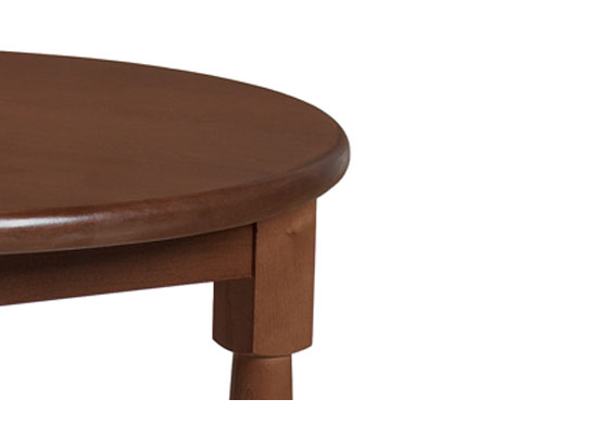 Bullnose wood edge with Post leg. Shown in Shaker Cherry (SKM). Customizable healthcare furniture.