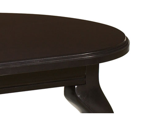 Scallop wood edge with Queen Anne Leg. Shown in Jet Onyx (JOM). Customizable healthcare furniture.