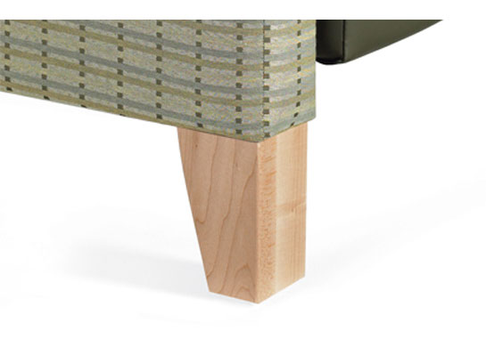 Stationary base: decorative tapered wood legs (WL).