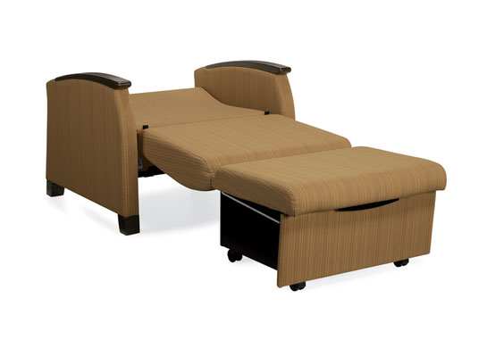 Nylon runners sliding on welded heavy gauge steel channel to allow for easy movement when opening and closing the chair sleeper bed.