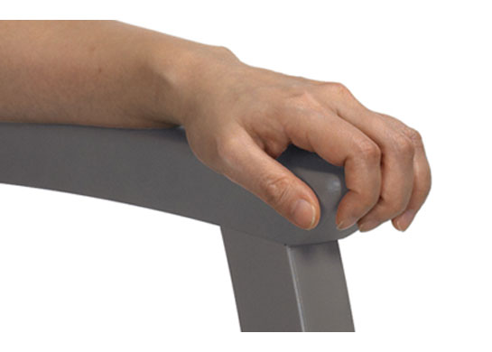 Arm grip extension to assist getting in and out of the medical chairs safely.