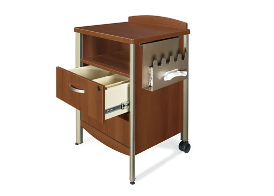 Additional Sonoma healthcare furniture items include a hospital bedside table