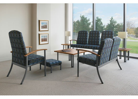 Strand medical chairs as used in a healthcare waiting room.