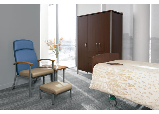 Strand medical office furniture is a comfortable fit for patient room furniture.