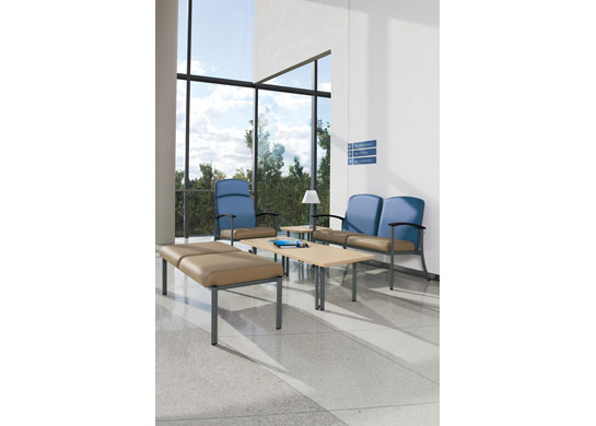 Strand hospital chairs are a comfortable fit for patient room furniture.
