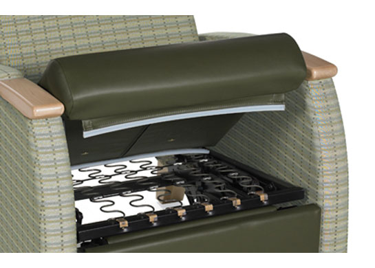 Removable, zippered seat cushions allow for easy cleaning and cushion replacement on medical recliners.