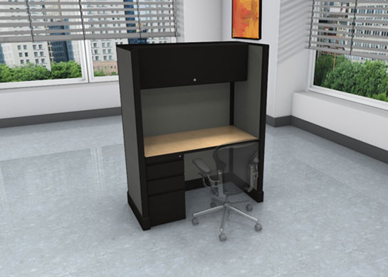 Call center images - high privacy - file drawers and overhead storage