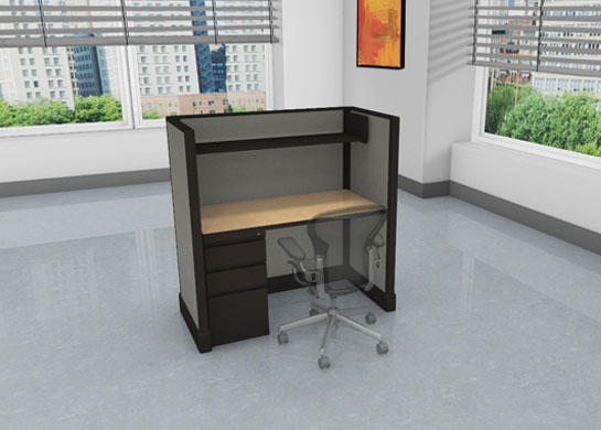 Call center images - medium privacy - file drawers and overhead storage