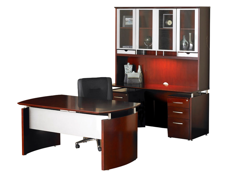 Dark wood desk - Napoli Desk Furniture (Veneer Tops)