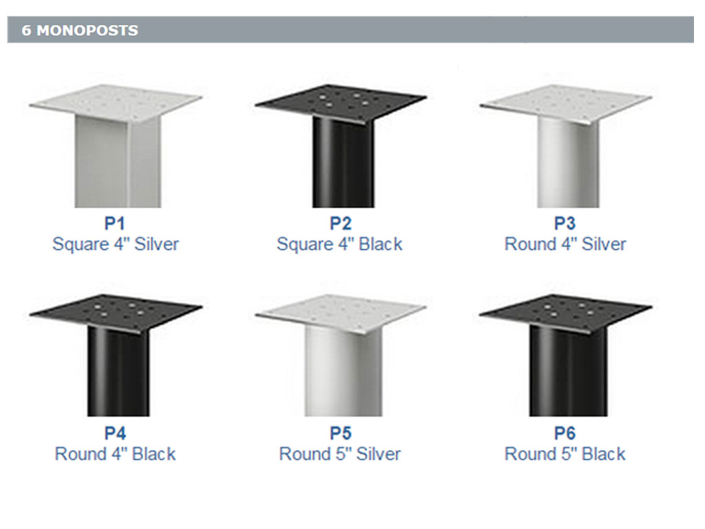 These Global Office Furniture Desks have 6 different monopost options for peninsula & meeting style desktops