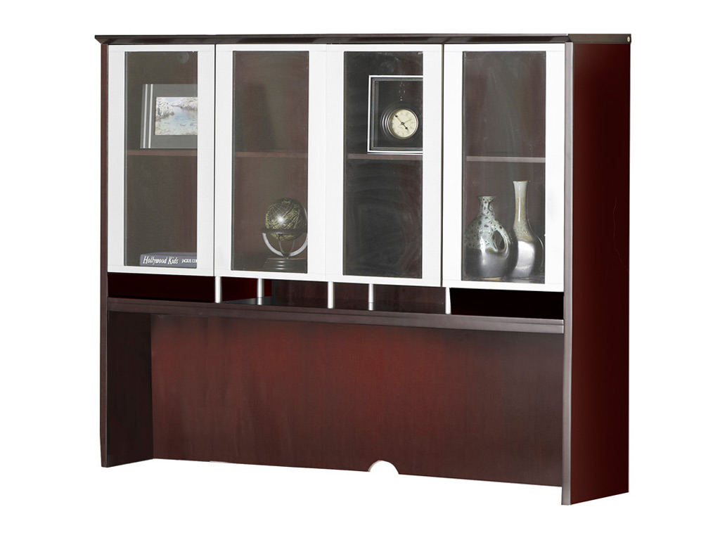 "The Wood office desk from Mayline pictured includes a hutch that features clear glass doors with silver frames and provides 19 3/4""H clearance below shelf."