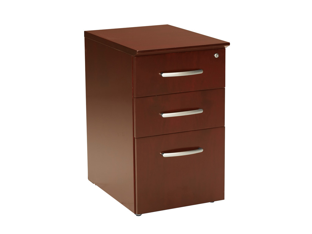 The Wood office desk from Mayline pictured includes a box-box-file pedestal. Its drawer interiors finished to match exterior veneer. Drawers operate smoothly using full-extension ball-bearing suspensions.