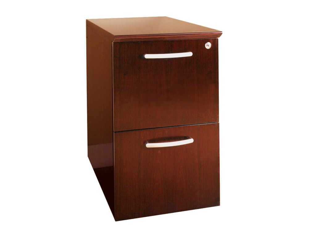 The Wood office desk from Mayline pictured includes a file-file pedestal. Its drawer interiors finished to match exterior veneer. Drawers operate smoothly using full-extension ball-bearing suspensions.