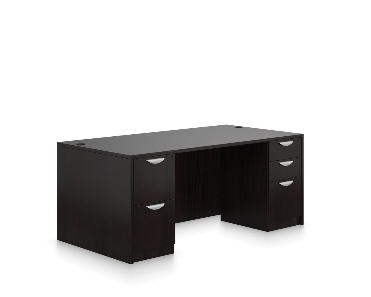 Affordable Office Furniture Desks from OTG - Shown in American Espresso woodgrain