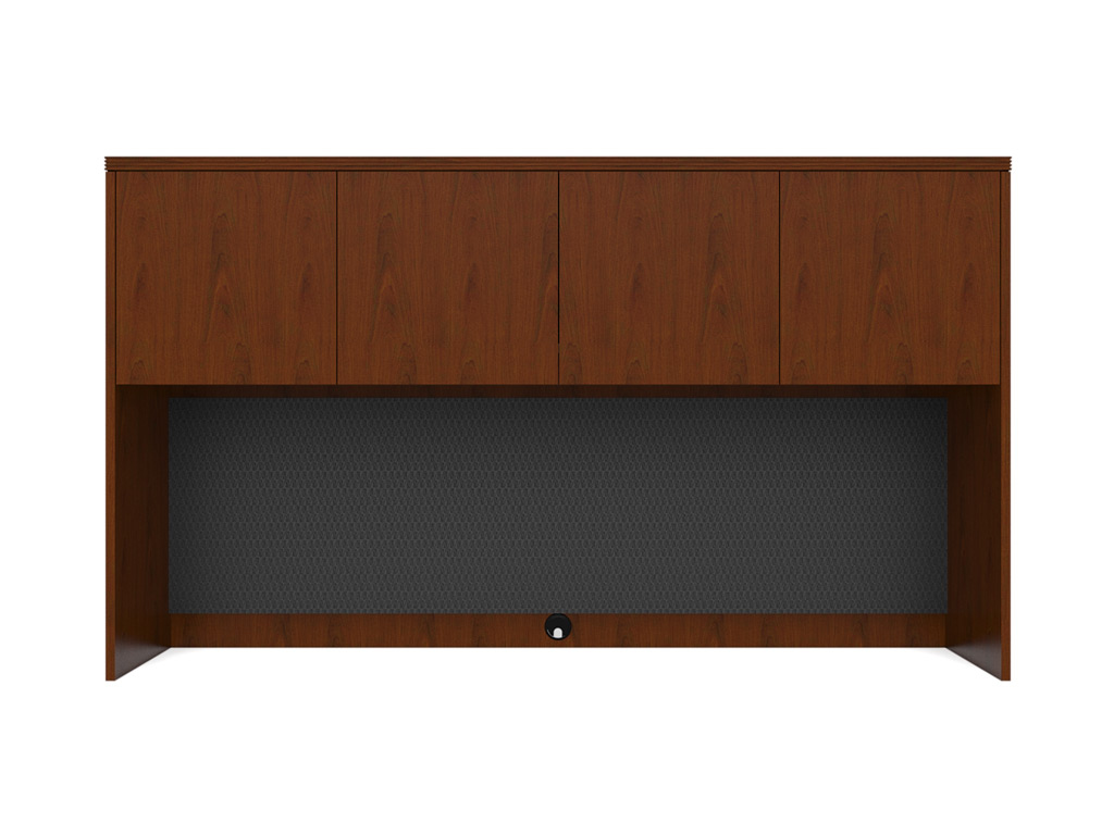 Wood office desk from Cherryman - hutches can be accessorized with grey fabric tackboards.