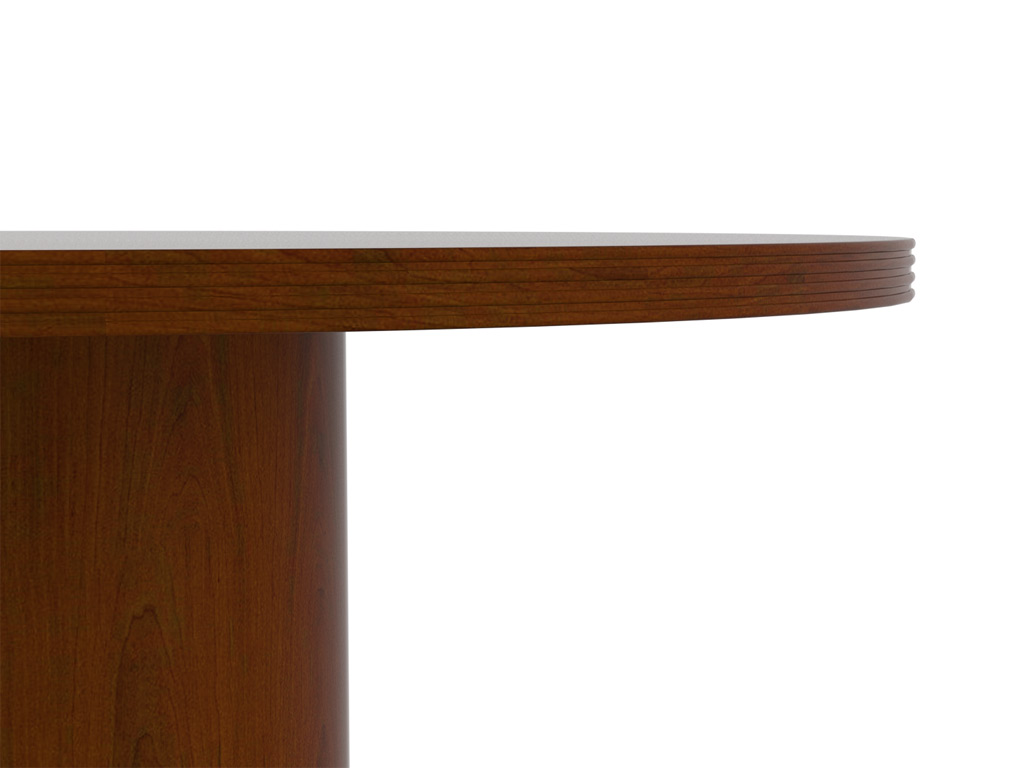 "Wood office desk from Cherryman - desk tops are 1-1/8"" thick, conference tops are 1-1/2"" thick, and feature a solid wood profiled edge on all four sides"