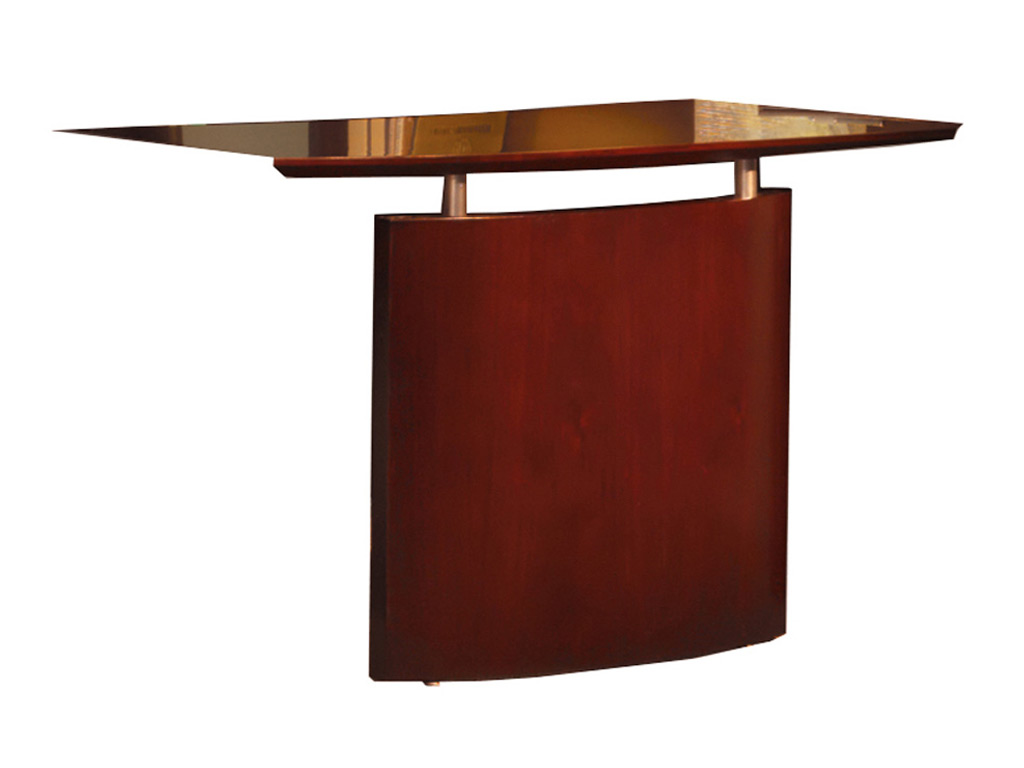 The Wood office desk from Mayline pictured includes a bridge with modesty panel.