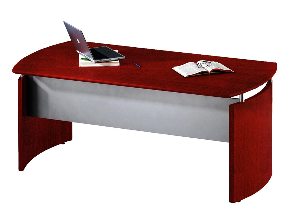 "This Wood office desk from Mayline is based on the 63""W main desk unit with curved base panels, a hanging silver modesty, and a floating desktop sitting on metal standoffs."