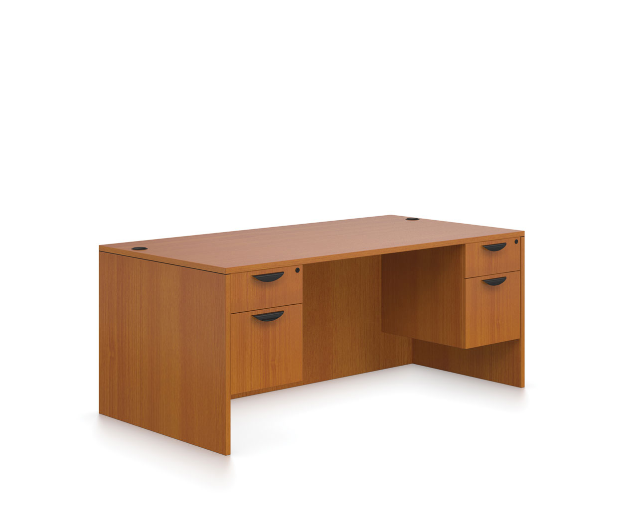 Affordable Office Furniture Desks from OTG - Shown in American Cherry woodgrain