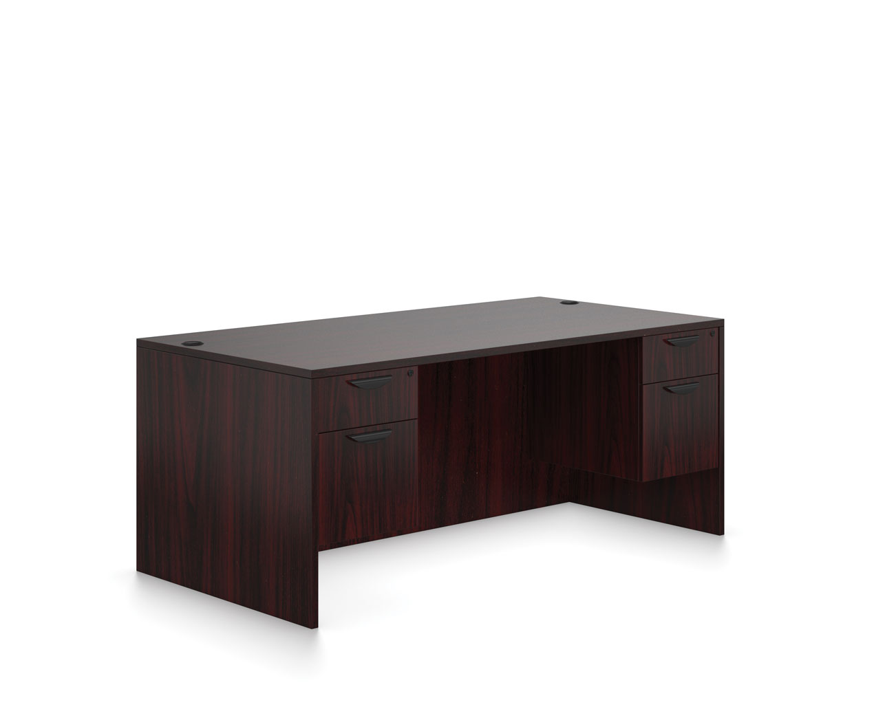 Affordable Office Furniture Desks from OTG - Shown in American Mahogany woodgrain