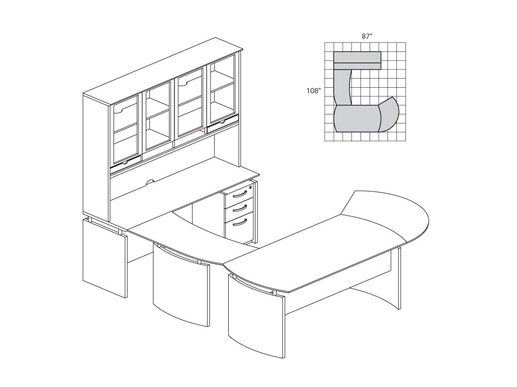 Wood office desk from Mayline - 2D & 3D schematics
