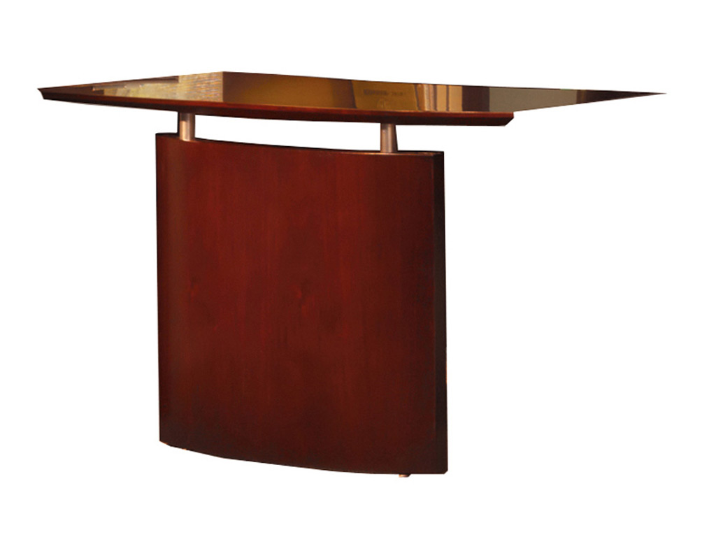 The Wood office desk from Mayline includes a bridge with modesty panel.