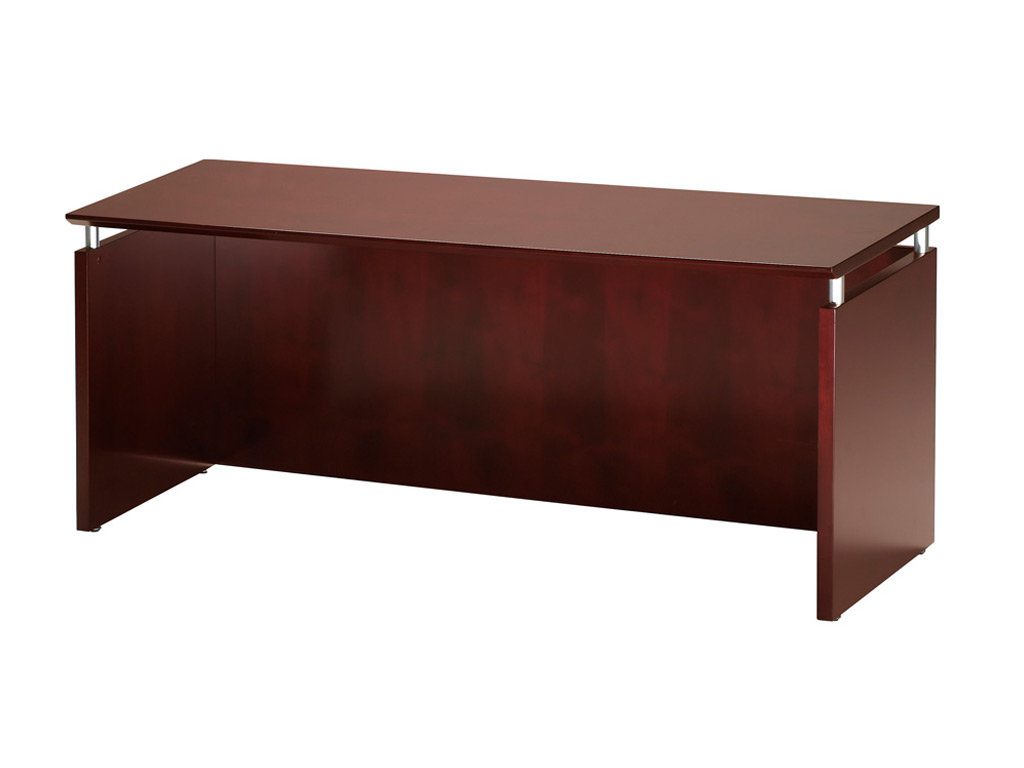 The Wood office desk from Mayline includes a credenza sophisticated style for any business or home office.
