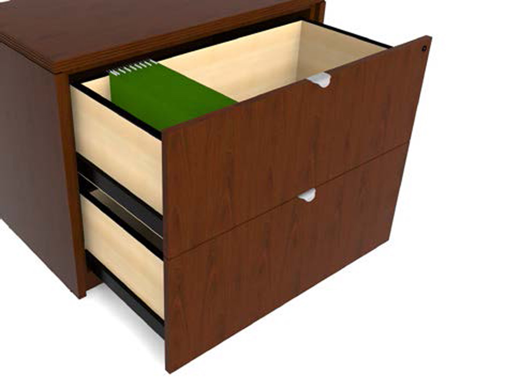 All pedestal and lateral drawers in this wood office desk from Cherryman have unfinished interiors and include a front mounted gang lock. All units are keyed alike. Requests for different keying can be accommodated for an upcharge.