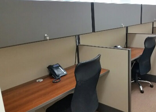 Used cubicles with Low/High Panel Combos from AIS - close up for worksurface