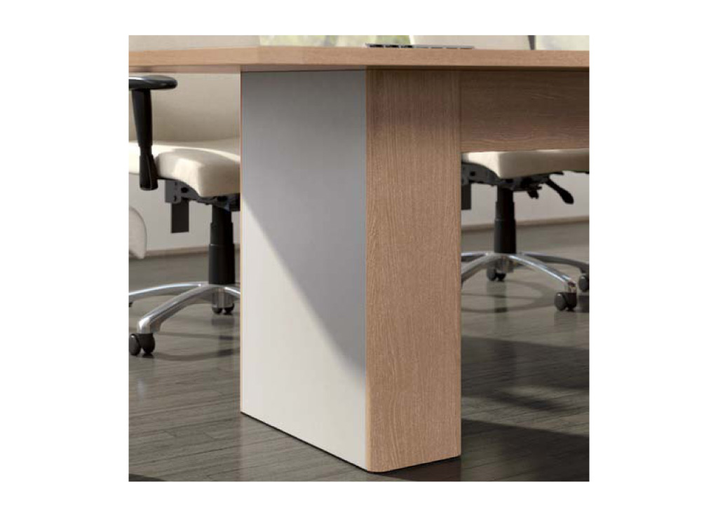 The bases for the boardroom furniture from Logiflex can be customized with 7 different options including aesthetic design, power access doors, and color accents