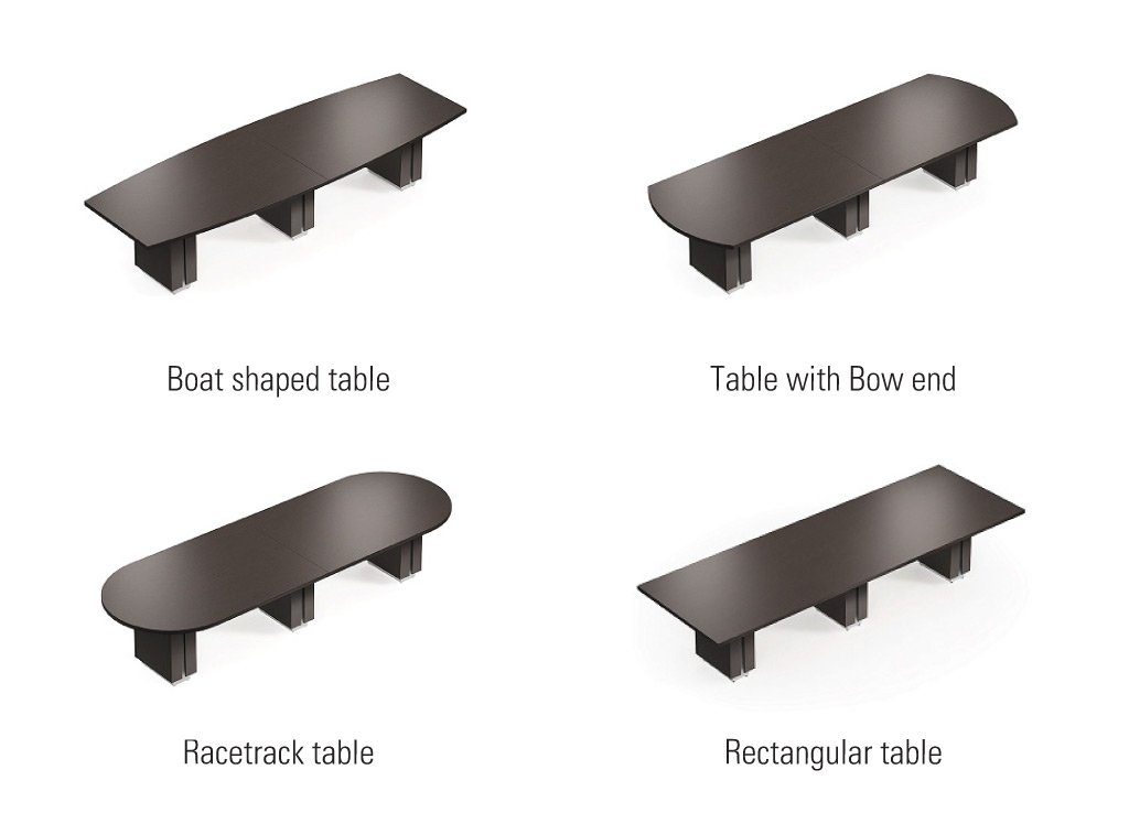 Amplify your boardroom furniture from Global Total Office with 4 top shape options.