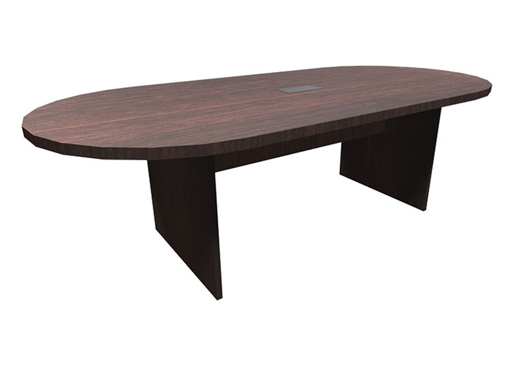 The affordable office furniture pictured includes a table, which has one piece top and one grommet. This table's length is 8'.
