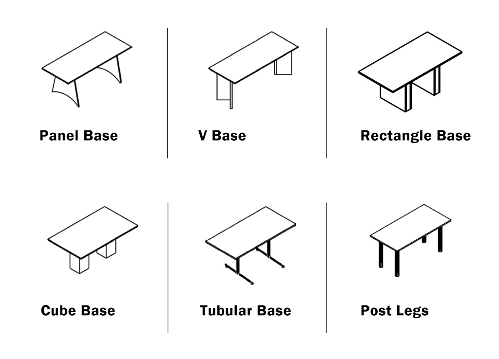 Amplify your custom office furniture tables from IOF by choosing from 6 base options.
