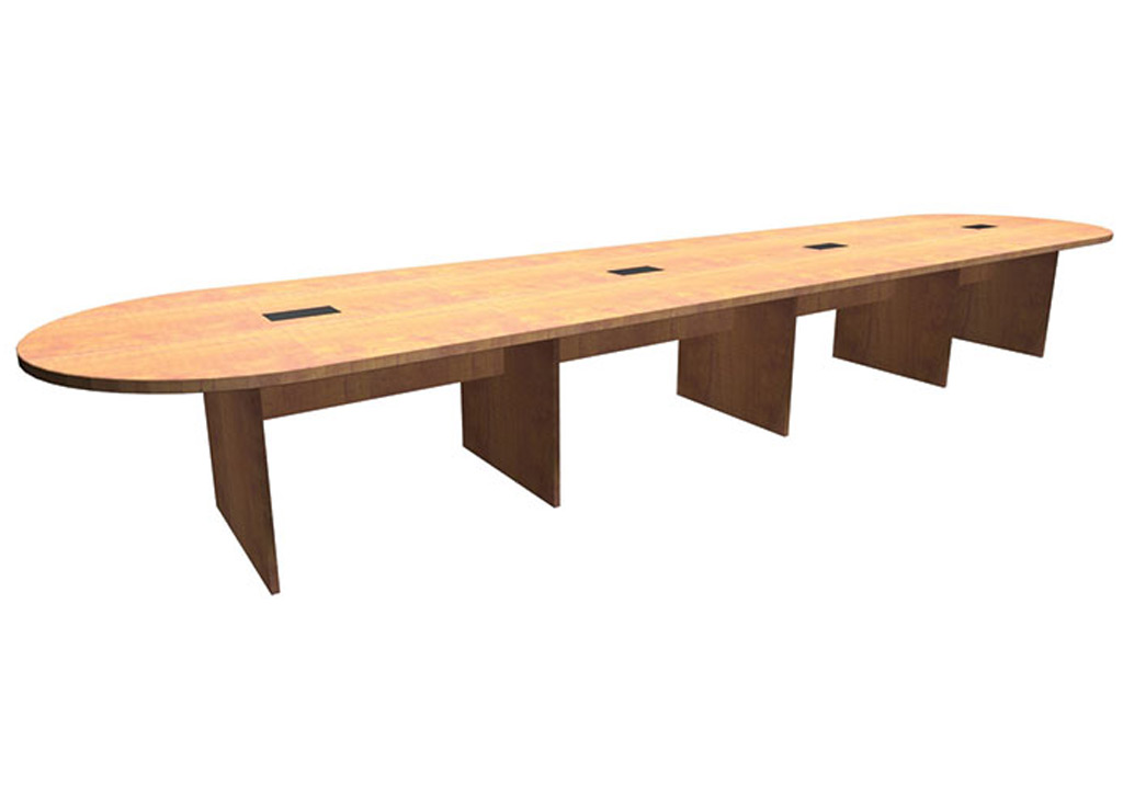 These boardroom tables from Office Source include four piece top and four grommets. This table's length is 18'.