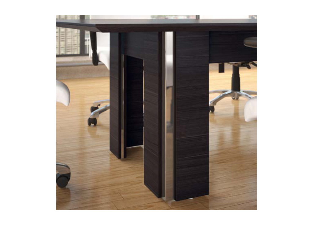The bases for the boardroom furniture from Logiflex can be customized with 7 different options, including aesthetic design, power access doors, and color accents