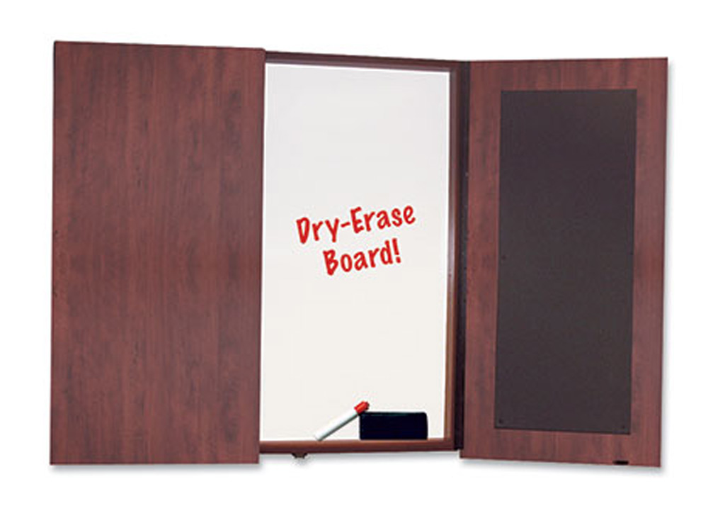 "The affordable office furniture table pictured includes a presentation board, which has 2 doors and tackboards on inside of each door. This board dimensions are 48""W x 48""H."