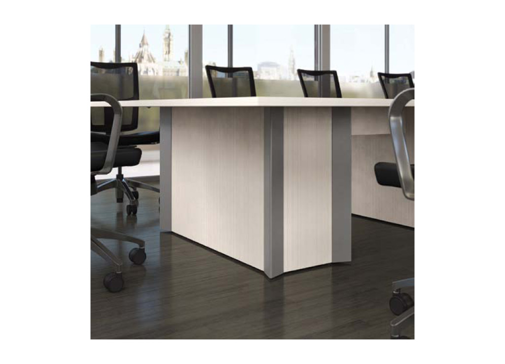 This boardroom furniture table base can be customized with 7 different options including aesthetic design, power access doors, and color accents.