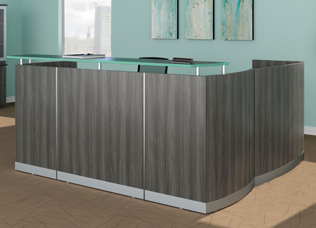 Modern Reception Desk From Mayline Front View Shown In Gray Steel Woodgrain