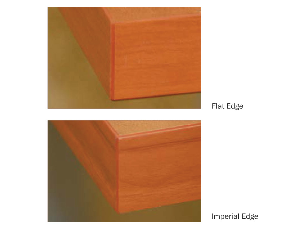 Amplify your custom reception desk furniture from IOF  with 2 edge options.