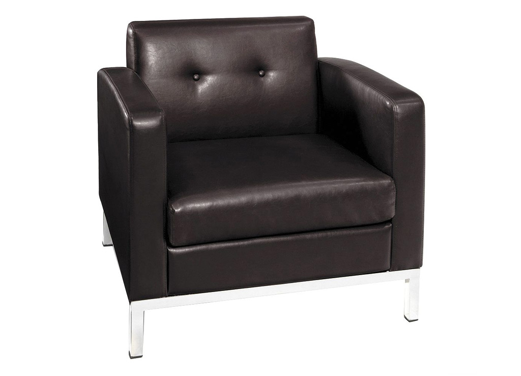 Office reception chairs from Office Star - Shown in Espresso (Brown) leather (faux)