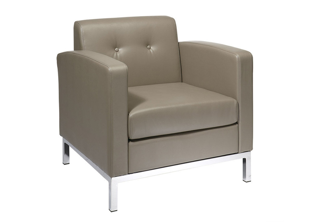 Office reception chairs from Office Star - Shown in Smoke (Beige) leather (faux)